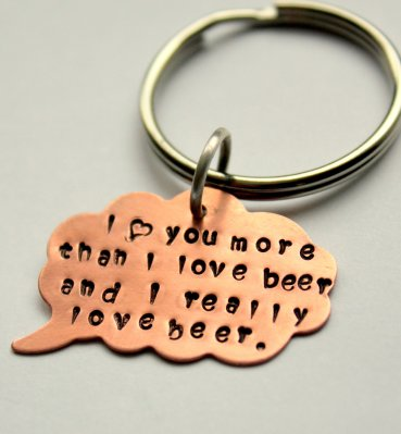 I love you more than beer keychain by White Lillie Design on Etsy.com