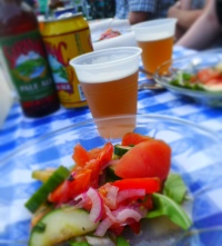 salad course with saranac kolsch